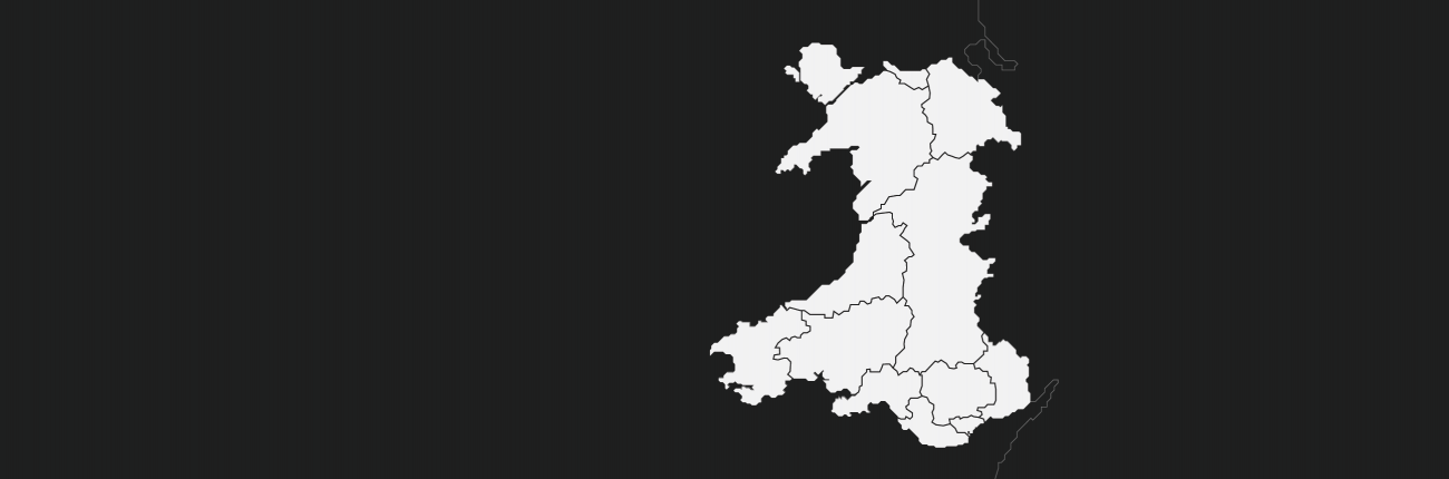 An outline map of Wales
